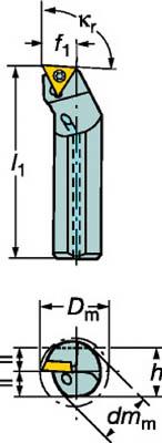 サンドビック コロターン107 ポジチップ用ボーリングバイト【A16R-STFCR 11】(旋削・フライス加工工具・ホルダー)【S1】