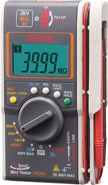 SANWA ハイブリッドミニ絶縁抵抗計(3レンジ絶縁抵抗計+クランプ)【DG35A】(計測機器・電気測定器)