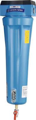 日本精器 高性能エアフィルタ20A0.01ミクロン(ドレンコック付)【NI-AN3-20A-DL-DV】(空圧・油圧機器・エアユニット)