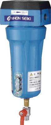 日本精器 高性能エアフィルタ10A3ミクロン(ドレンコック付)【NI-CN1-10A-DL-DV】(空圧・油圧機器・エアユニット)