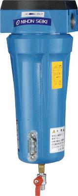 日本精器 高性能エアフィルタ15A1ミクロン(ドレンコック付)【NI-TN2-15A-DL-DV】(空圧・油圧機器・エアユニット)