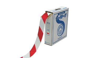 緑十字 ラインテープ(ガードテープ) 白/赤 50mm幅×100m 屋内用【148063】(テープ用品・安全表示テープ)