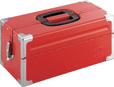 TONE ツールケース(メタル) V形2段式 433X220X195mm レッド【BX322】(工具箱・ツールバッグ・スチール製工具箱)