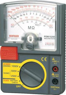 SANWA アナログ絶縁抵抗計 1000V/500V/250V【PDM1529S】(計測機器・電気測定器)