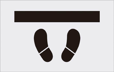IM ステンシル とまれ(靴イラスト) プレートサイズ385×600mm【AST-15】(塗装・内装用品・マーキングプレート)