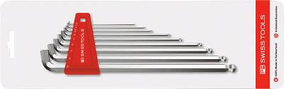 PBスイスツールズ ショートヘッドボール付ロング六角棒レンチセット【2212LH-10CN】
