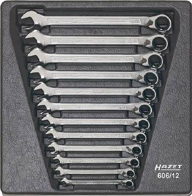 【破格値下げ】 HAZET 12丁セット【606S12】(レンチ・スパナ・プーラ・ラチェットレンチ):リコメン堂 切替式ギヤレンチセット(コンビタイプ)-DIY・工具