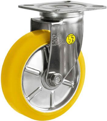 シシク ステンレスキャスター 制電性ウレタン車輪付自在【SUNJ-125-SEUW】(キャスター・静電キャスター)