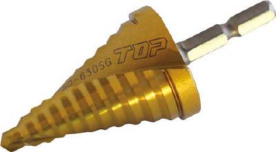 TOP 電動ドリル用六角シャンクスパイラルステップドリル ゴールドタイプ【ESD-630SG】(穴あけ工具・ステップドリル)