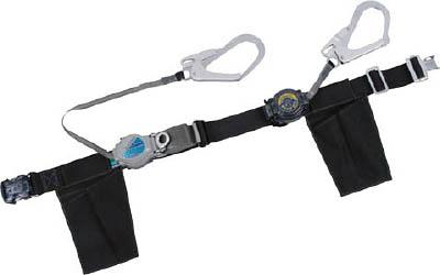 ツヨロン ツインランヤード安全帯 ワンタッチ巻取式【TRL-2-OT593-SRBT-BLK-BP】(保護具・安全帯)