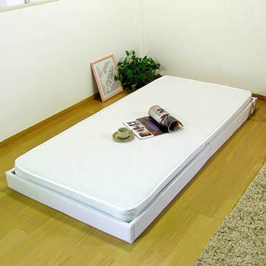 日本製 ヘッドレス フロアベッド 二つ折り ボンネルコイル マットレス ダブル ベッド ベッドフレーム 脚付き マットレス(代引不可)【送料無料】