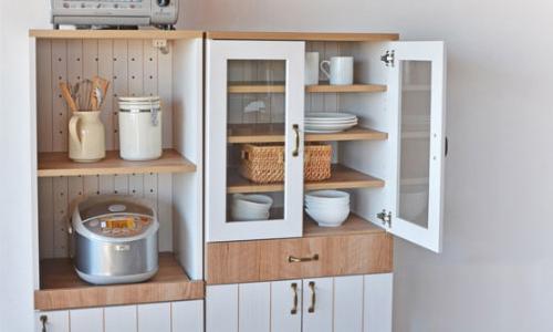 キッチンキャビネット カリーナ 食器棚 キャビネット キッチン収納 キッチン 食器 キッチンラック ラック 木製(代引不可)【送料無料】
