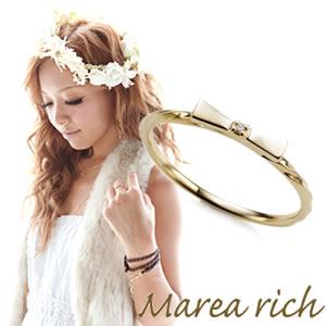 マレアリッチ Marea rich K10 リボンモチーフリング ゴールド×ダイヤモンド 10号 10KJ-06