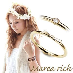 マレアリッチ Marea rich K10 リボンモチーフ・ダイヤ 2WAY ピンキーリング ゴールド×ダイヤモンド 3号 10KJ-17