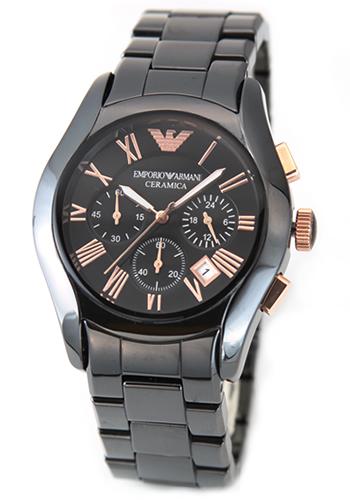 エンポリオアルマーニ EMPORIO ARMANI メンズ 腕時計 CERAMICA(セラミカ・クロノグラフ) ブラックカラーのセラミックブレス・クロノグラフ・ウオッチ AR1410【送料無料】