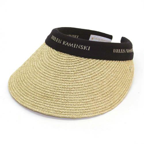 ヘレンカミンスキー Bianca/Natural/Black Logo ≪2015SS≫ビアンカ UPF50+ クリップ サンバイザー ラフィア製ハット レディス帽子