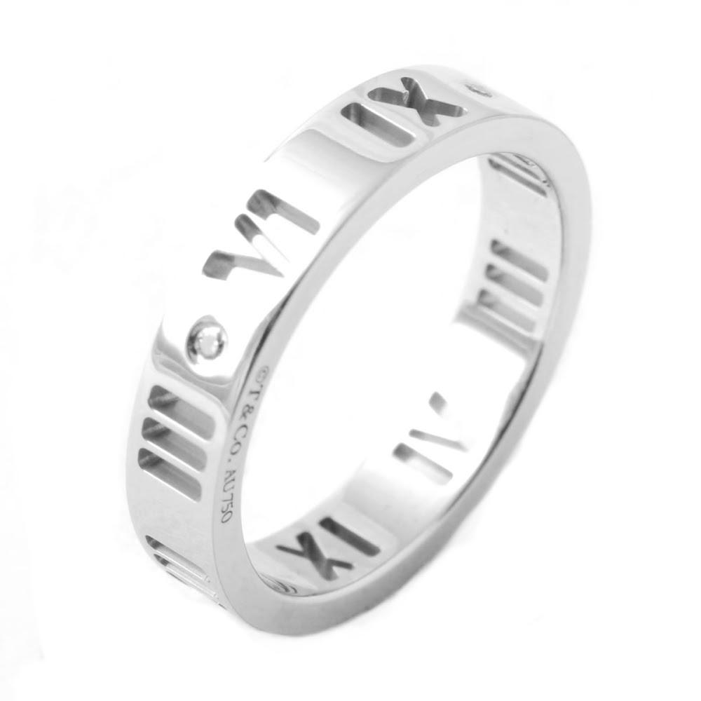 ティファニー アトラス ダイヤモンド リング 指輪 0.01ct 18KWG 16in【送料無料】