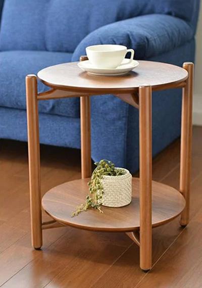 サイドテーブル ナイトテーブル 収納 丸型 テーブル ナチュラル ブラウン 【プレーリー】(代引不可)【送料無料】