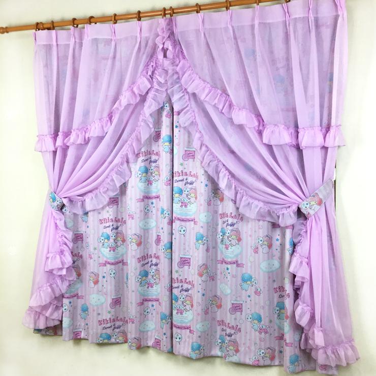 サンリオ キキララ(コットンキャンディ) 3級 遮光カーテン と ボイル カーテン 4枚セット 100×150cm(代引不可)【送料無料】