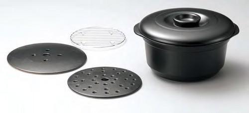 《富仙作》■【耐熱陶器】富仙黒どえりゃあええ鍋 L2263 富仙作