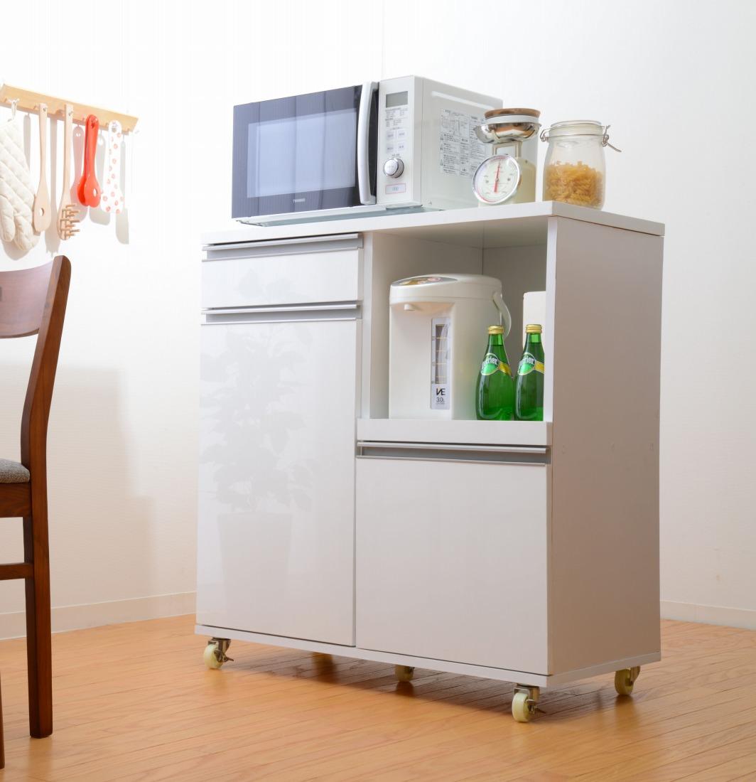 レンジ台 食器棚 キッチンカウンター 鏡面仕上げ キッチン収納 デリカ 80cm幅(代引き不可)【int_d11】
