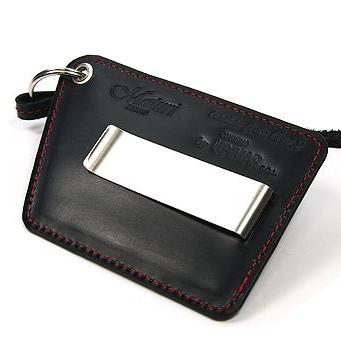 送料無料 財布だとポケットがパンパンになってしまう そんな方におすすめ Maturi 期間限定特別価格 マトゥーリ ユピマ アウトレット 革ストラップ付 新品 イタリアンレザー 黒×赤 カードインマネークリップ
