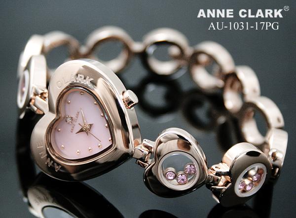ANNE CLARK アンクラーク 腕時計 1P天然ダイヤ ハート型フェイス ムービングカラーストーン ピンクゴールド AU 1031 17PG レディースQtshdr