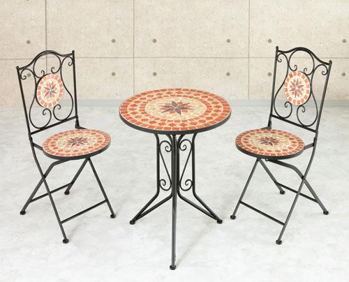 ガーデニング3点セット テーブル+チェア2台 折りたたみチェア タイル調 モダン アンティーク風(代引不可)【送料無料】