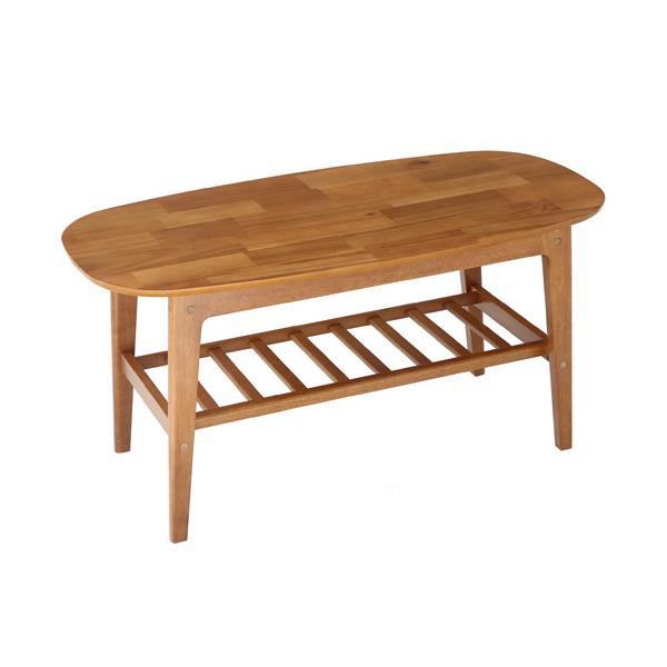 棚付きセンターテーブル 幅105cm 木製 テーブル 天然木 ソファテーブル リビング レトロ シンプル モダン(代引不可)【送料無料】