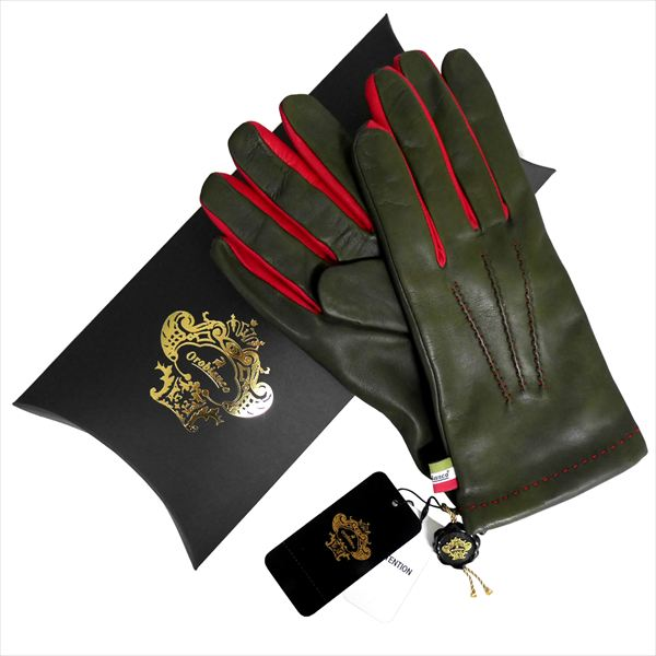 OROBIANCO オロビアンコ メンズ手袋 ORM-1406 Leather glove 羊革 ウール KHAKI サイズ:8(23cm) ギフト プレゼント クリスマス【送料無料】