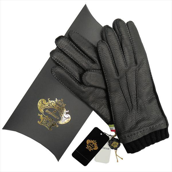 OROBIANCO オロビアンコ メンズ手袋 ORM-1413 Leather glove 鹿革 ウール BLACK サイズ:8(23cm) ギフト プレゼント クリスマス【送料無料】