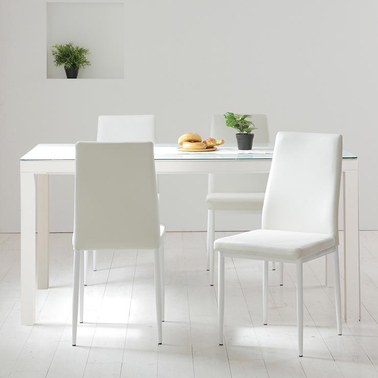 ガラス ダイニングセット 5点セット ホワイト ダイニング ダイニングテーブル ダイニングチェア 椅子 天板 幅130 W130(代引不可)【送料無料】【int_d11】