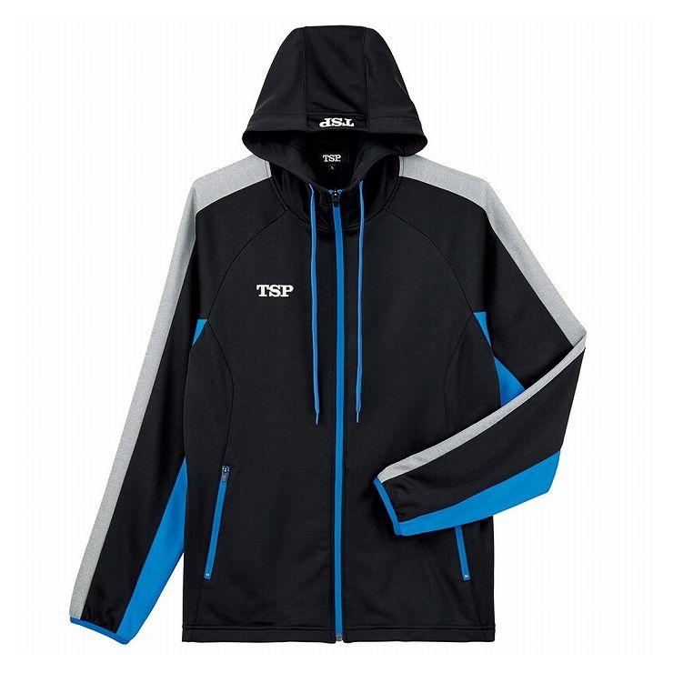 TSP(ティーエスピー) 卓球ウェア ウォームアップ TJ-191ジャケット 033879 【カラー】ブラック×ブルー 【サイズ】XL【送料無料】