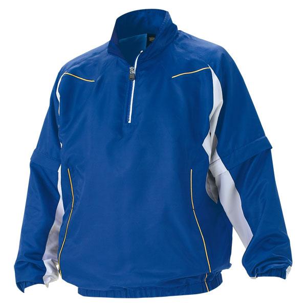 ZETT(ゼット) 野球 長袖/半袖切り替え式ハーフジップジャンパー BOV515 2511 ロイヤルブルー×ホワイト L【送料無料】