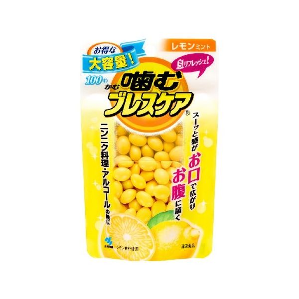 小林製薬 噛むブレスケア パウチ レモンミント 100粒 オーラル 口中衛生用品 口中清涼剤(代引不可)