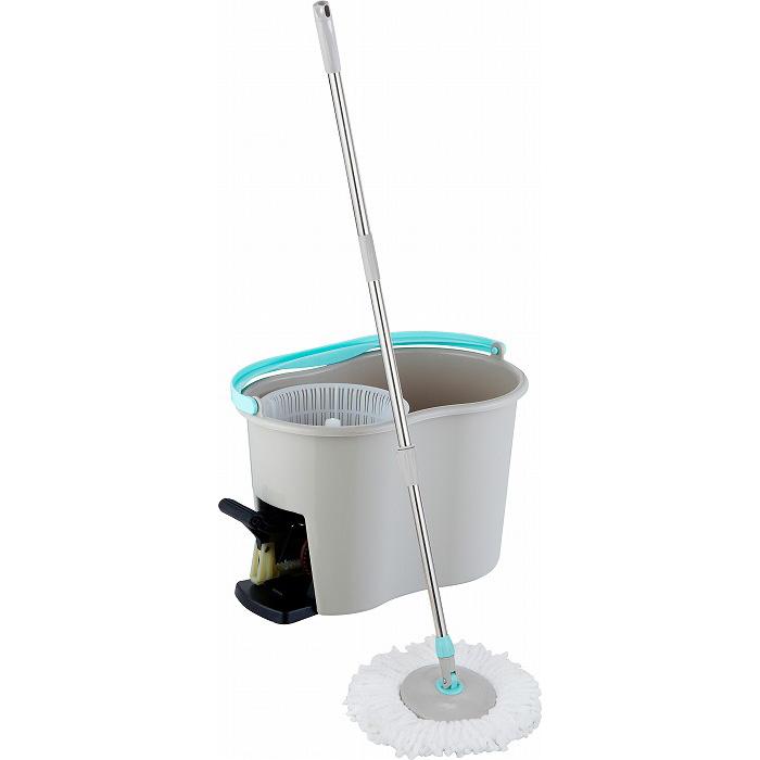 足踏み回転モップ 簡単 脱水 洗浄 リビング ベランダ タイル お掃除(代引不可)