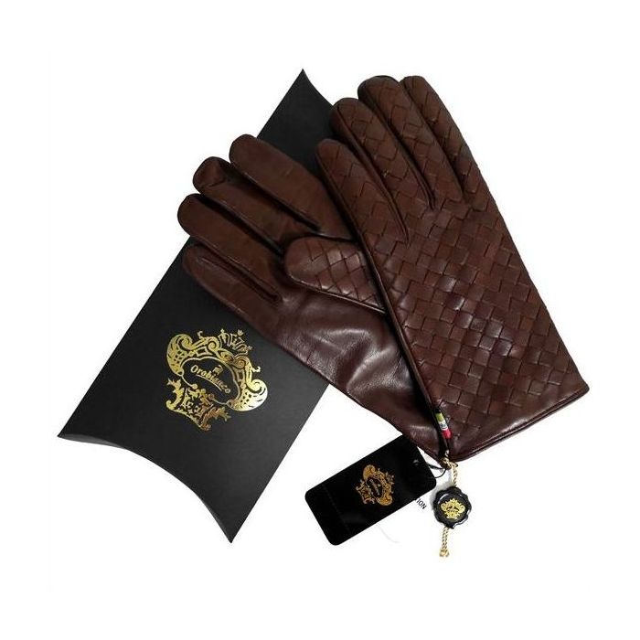 OROBIANCO オロビアンコ メンズ手袋 ORM-1407 Leather glove 羊革 ウール BROWN サイズ:8(23cm) ギフト プレゼント クリスマス【送料無料】