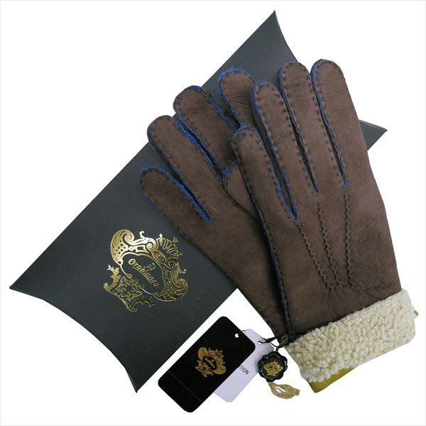 OROBIANCO オロビアンコ メンズ手袋 ORM-1410 Leather glove 羊革 DARKBROWN LIME サイズ:8.5(24cm) プレゼント クリスマス【送料無料】