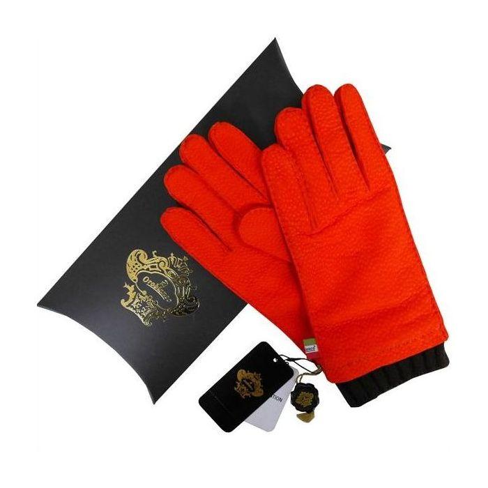 OROBIANCO オロビアンコ メンズ手袋 ORM-1412 Leather glove カピバラ ウール ORANGE サイズ:8(23cm) プレゼント クリスマス【送料無料】