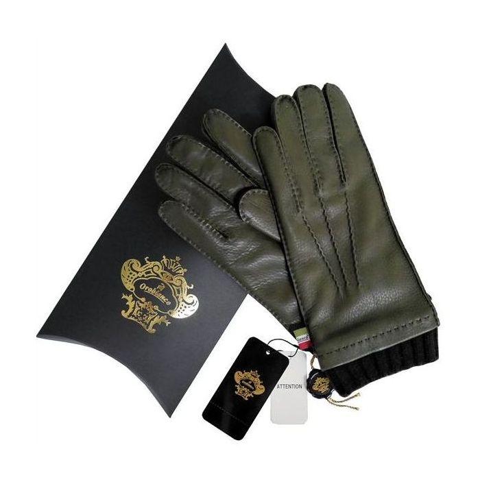 OROBIANCO オロビアンコ メンズ手袋 ORM-1413 Leather glove 鹿革 ウール KHAKI サイズ:8.5(24cm) ギフト プレゼント クリスマス【送料無料】