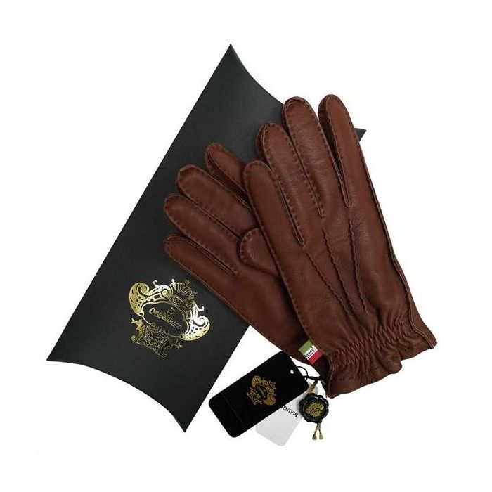 OROBIANCO オロビアンコ メンズ手袋 ORM-1414 Leather glove 鹿革 ウール DARKBROWN サイズ:8(23cm) プレゼント クリスマス【送料無料】