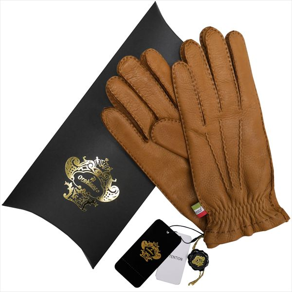 OROBIANCO オロビアンコ メンズ手袋 ORM-1414 Leather glove 鹿革 ウール CAMEL サイズ:8.5(24cm) ギフト プレゼント クリスマス【送料無料】