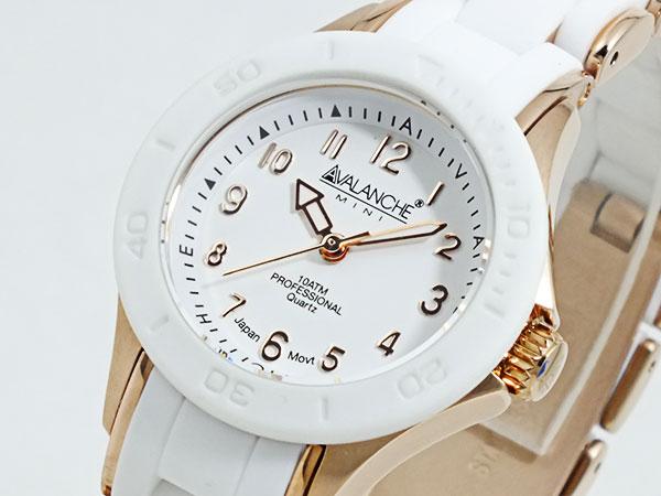 アバランチ AVALANCHE 腕時計 AV-1025-WHRG ホワイト×ローズゴールド