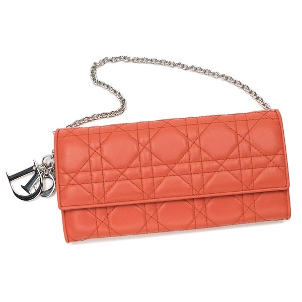 Christian Dior CHRISTIAN DIOR purse length tags CAL43060P LADY DIOR WALLET FALP ORANGE OR