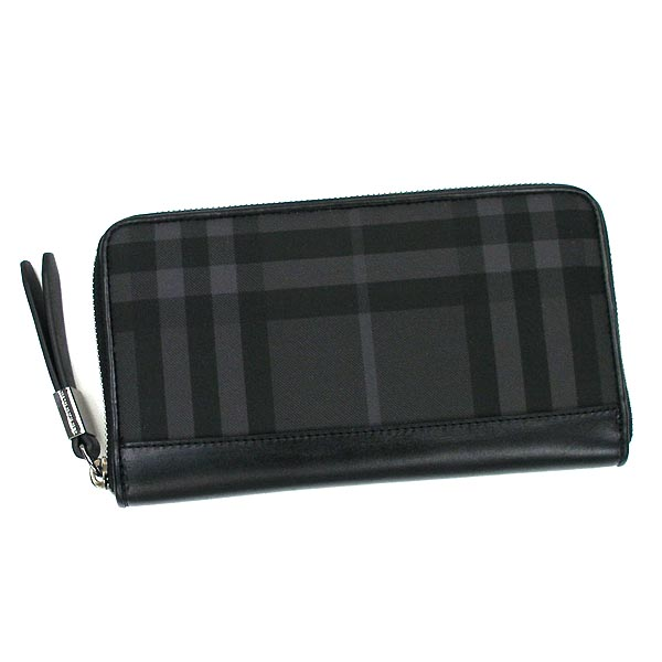 Burberry BURBERRY long wallet long tags MS RENFREW BRT LONG ZIP AROUND WALLET BRIT CHECK / BLACK BK