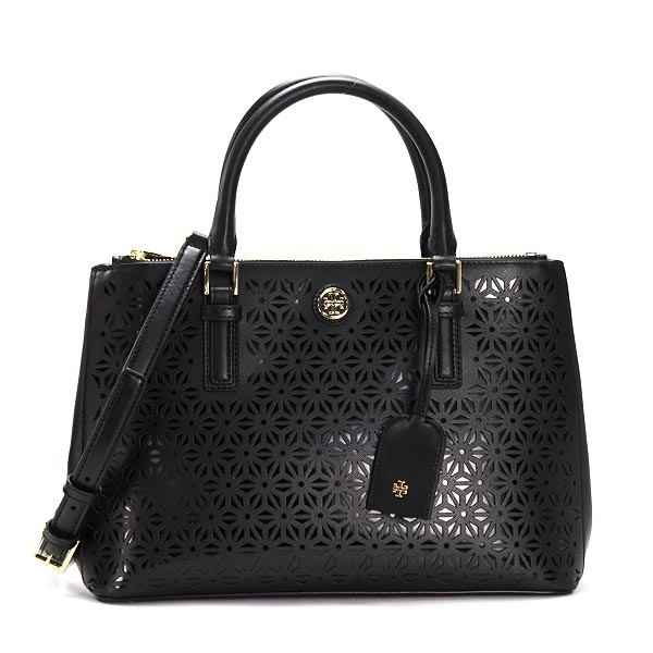 Tory Burch Handbags 22159800 Robinson Fl Perf Mini Double Zip Tote Black Bk