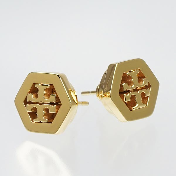 Tory Burch Earrings And Pierced 31155532 Hex Logo Stud Earring Shiny Gold Go