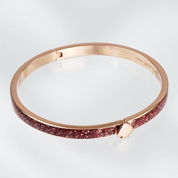 Kate Spade Bracelet Wbrub100 Thin Hinge Bangle Rose Gold Glitter Pk