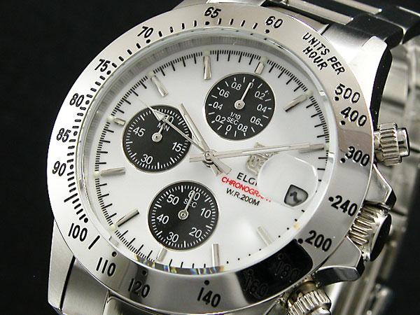 エルジン ELGIN 腕時計 クロノグラフ メンズ FK1184S-W