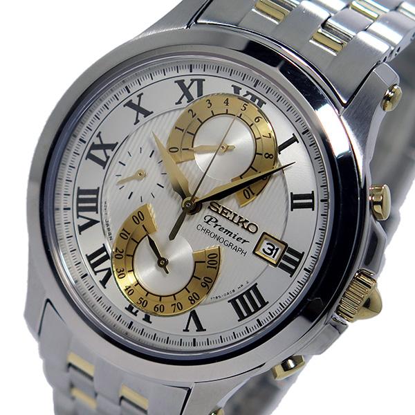 セイコー SEIKO プルミエ クロノ クオーツ メンズ 腕時計 SPC068P1 ホワイト【送料無料】